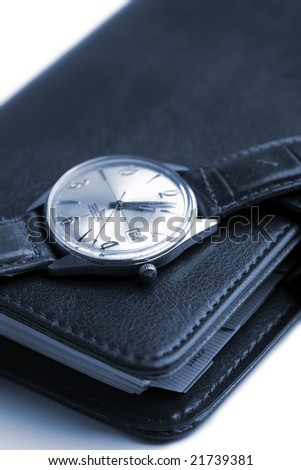 leather organizer and watch isolated (shallow DOF) - stock photo