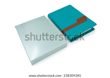 Leather organizer book with box - stock photo