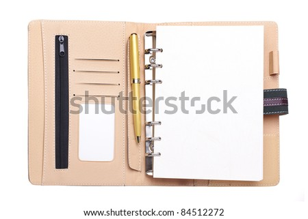 Leather organizer with clipping path over white background - stock photo