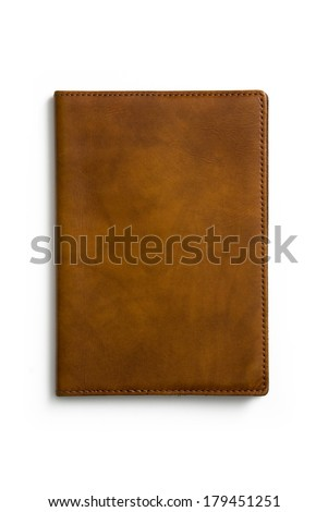 leather passport cover isolated on white background - stock photo