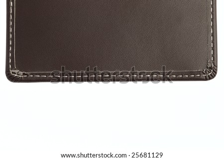 Leather pattern with thread stitches isolated on white background