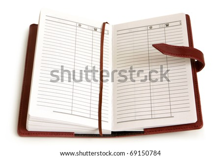Leather personal organizer on a white background - stock photo