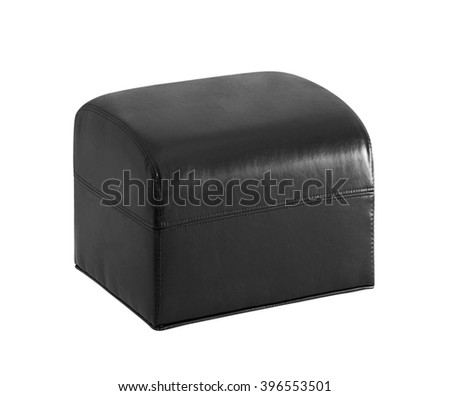 Leather pillow isolated - stock photo