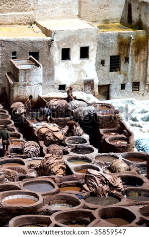 Leather production in Madina, Fes, Morocco - stock photo
