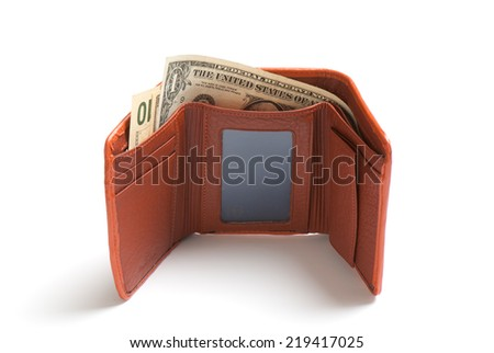 Leather purse cards isolated on a white background. Studio photo - stock photo