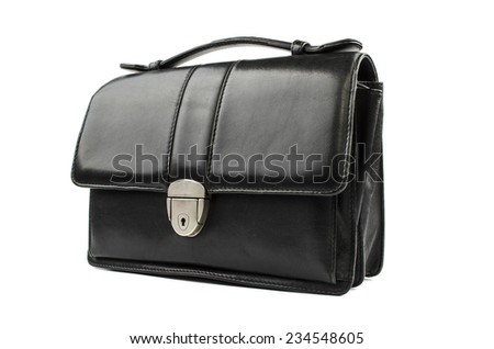 Leather purse on a white background - stock photo