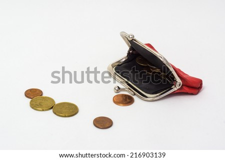 Leather purse with coins - stock photo
