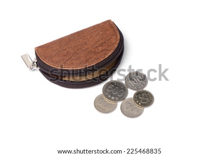 leather purse with coins, isolated on white - stock photo