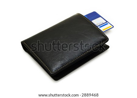 leather purse with credit card on a white background with pretty shadows