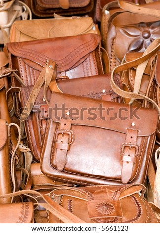 Leather purses in a Mexican Market in Chiapas, Mexico - stock photo