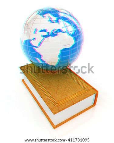 leather real book and Earth. 3D illustration. Anaglyph. View with red/cyan glasses to see in 3D. - stock photo