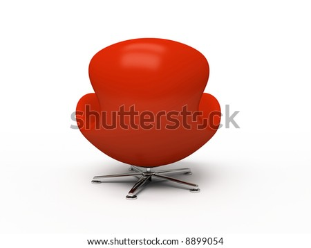 Leather red armchair (back view) isolated on white background - stock photo