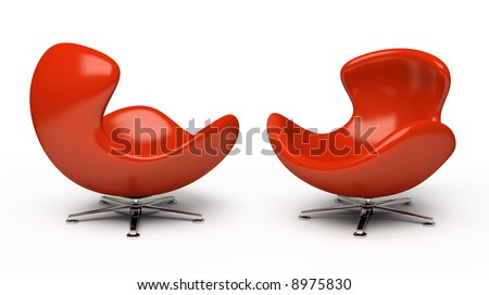 Leather red armchair (right and left view) isolated on white background - stock photo