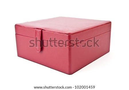 Leather red case for cosmetic products and jewelry