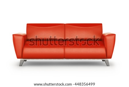 leather red sofa with aluminum legs isolated on white background. 3d illustration - stock photo