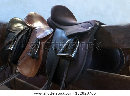 leather saddle horse close up detail