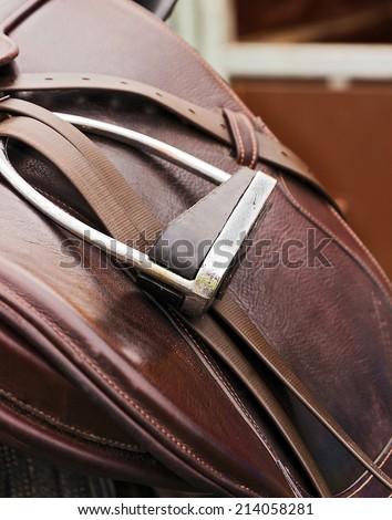 leather saddle horse close up detail  - stock photo