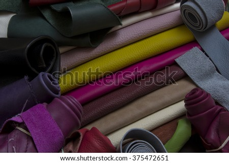 leather samples - stock photo