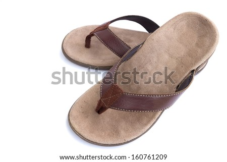 Leather sandals isolated on white background