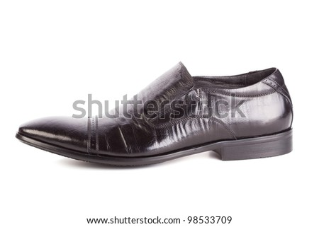 Leather shoe for men. Object is isolated on white background - stock photo