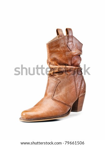 Leather shoe isolated on white - stock photo