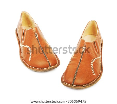 Leather shoes for women isolated on white - stock photo