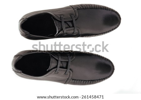 Leather shoes isolated on white background. leather fashion shoes isolated on white - stock photo