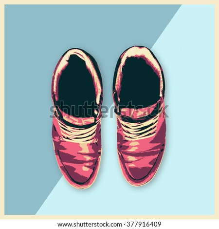 Leather Shoes Sneakers Fashion man footwear flat design illustration Beauty and Style concept trendy style