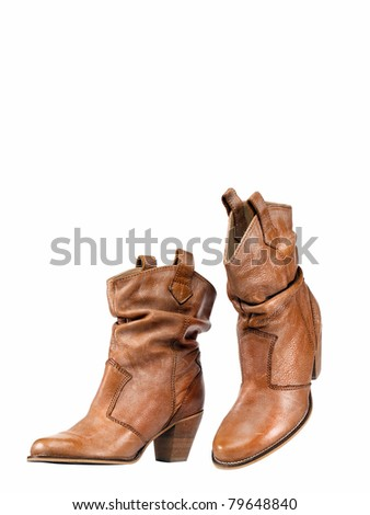 Leather shoes with copy space - stock photo