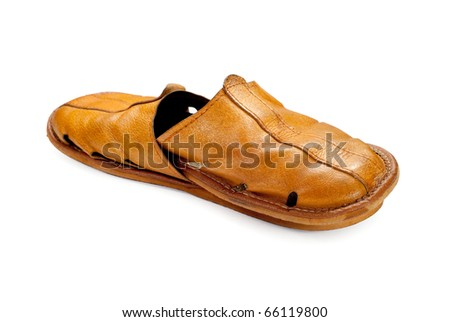 Leather slippers isolated on  white