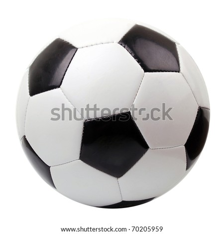 Leather soccer ball isolated on white - stock photo