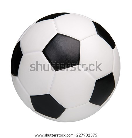 Leather soccer ball isolated on white background