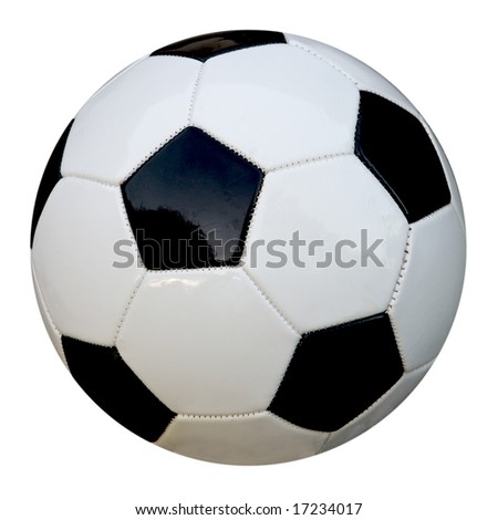 Leather soccer ball  soccerball isolated on white background