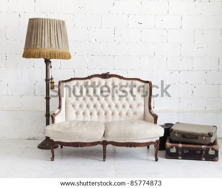 leather sofa in white room - stock photo