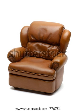 Leather sofa isolated on white - stock photo