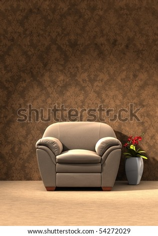 Leather sofa with flower vase beside - Three dimension illustration