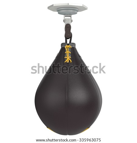 Leather speed punching bag. 3D graphic object on white background isolated - stock photo