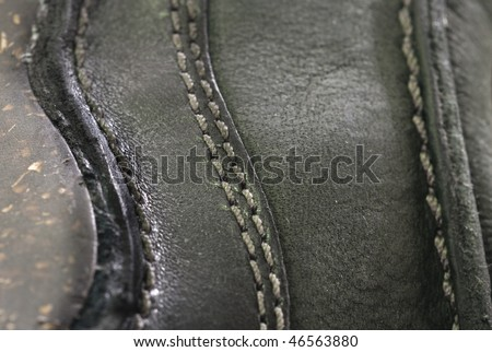 leather stitches detail - stock photo