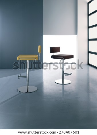 leather stools and steel,bar stools,stools tires leather and steel of modern design with metallic finish at the edges, back in leather and polished steel base,artificial light, - stock photo