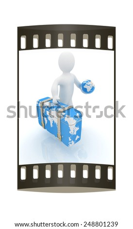 Leather suitcase for travel with 3d man and earth on a white background. The film strip - stock photo