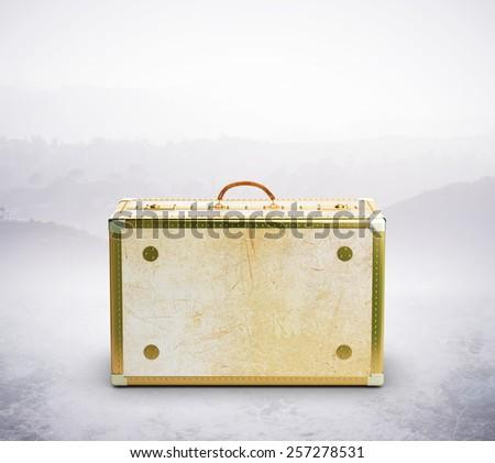 leather suitcase isolated on white background - stock photo
