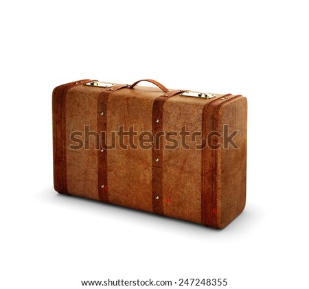 leather suitcase on a white background - stock photo