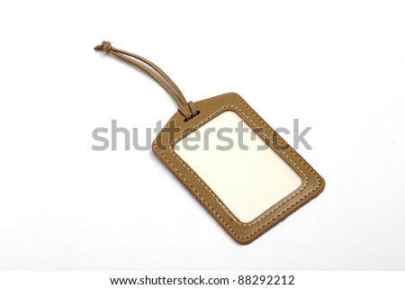 leather tag on white background