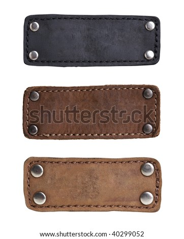 Leather tags - stock photo