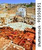 Leather tanneries in Fes, Morocco - stock photo