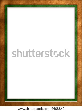 Leather texture green border frame - stock photo