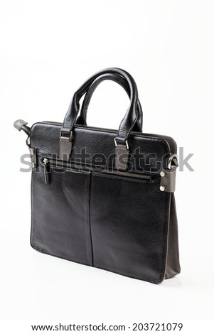 Leather tote bag on white background