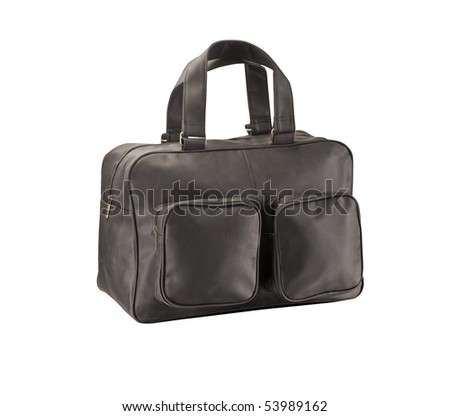 Leather travel bag isolated on white