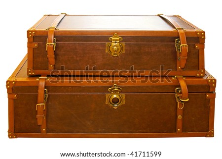 Leather trunk luggage isolated included clipping path