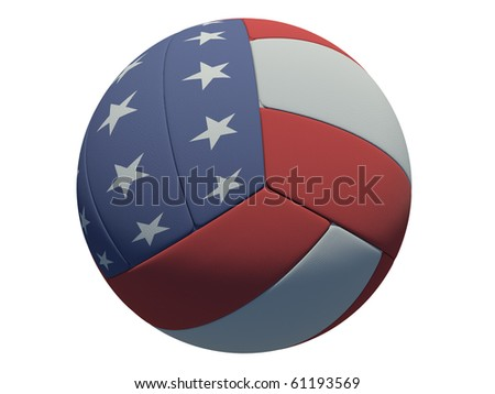 leather volleyball ball on isolated background (American skin)